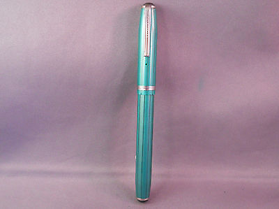 Esterbrook Icicle Pattern Green Fountain Pen---working--9668--firm medium