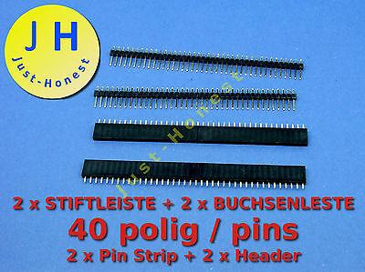 Stk.2x BUCHSENLEISTE 40polig +2x STIFTLEISTE 40polig KIT HEADER /Pin Strip #A140