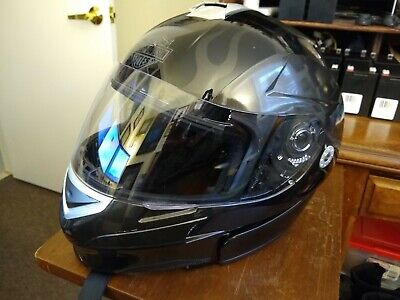 Harley Davidson Full Face Modular Black Ghost Flame Striped Helmet XXL