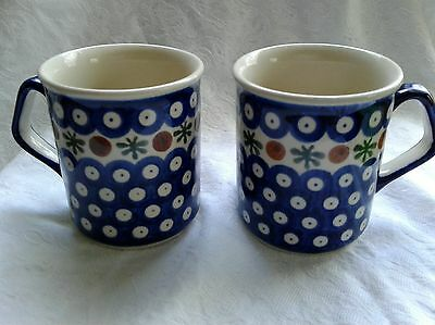 Boleslawiec Polish Pottery Mugs Set of 2 Mosaic Flower Pattern 8 Oz.