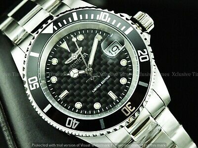 Invicta Men 40mm LE Carbon Fiber PRO DIVER 41hr Power Reserve Automatic SS Watch