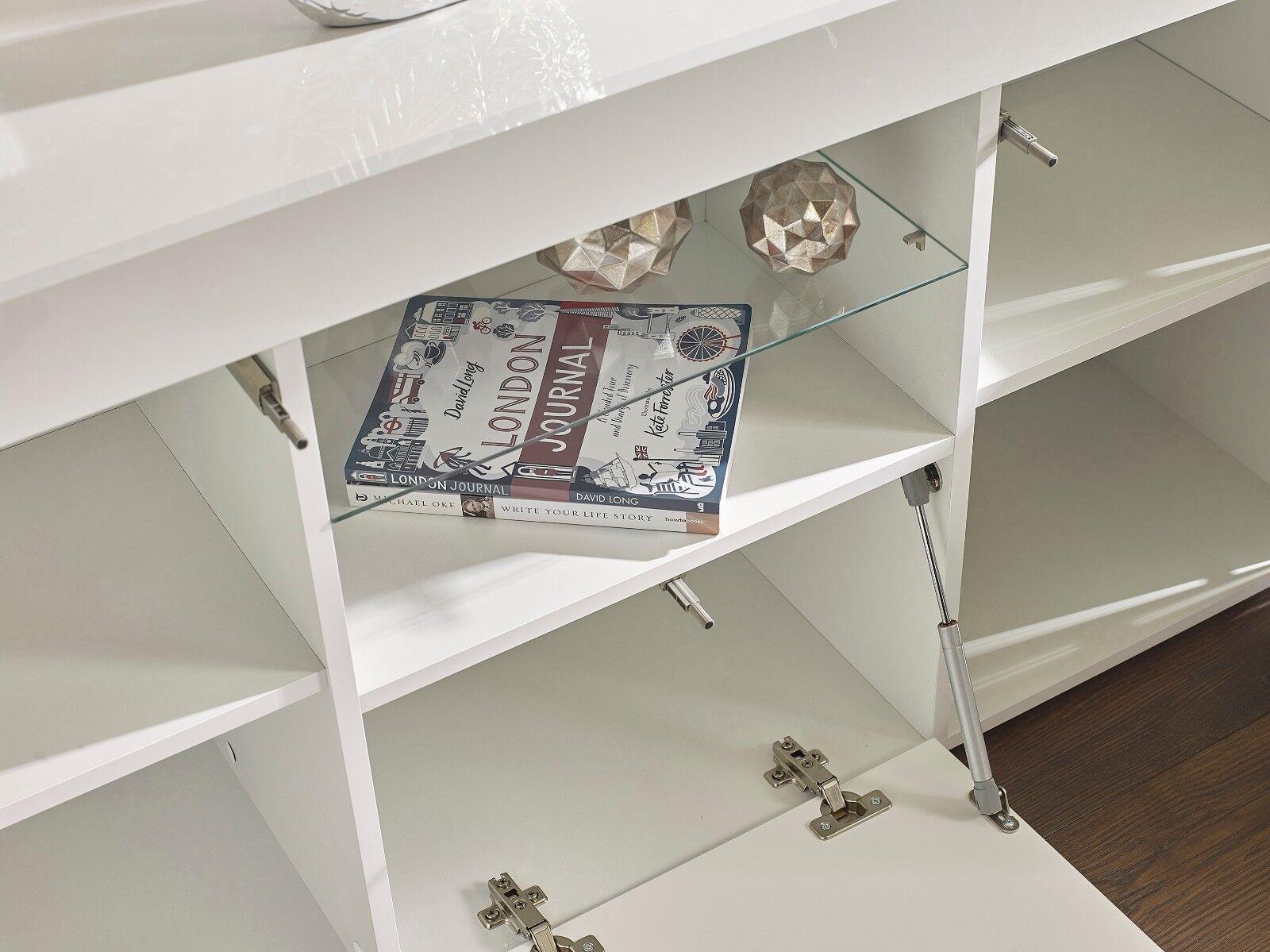 WHITE HIGH GLOSS Top Doors Sideboard Display Cabinet