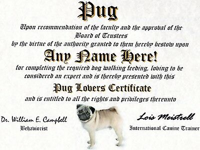 PUG DIPLOMA-DOG LOVER OWNER CERTIFICATE- FUN  CUSTOM GAG GIFT-CUSTOMIZED NAME