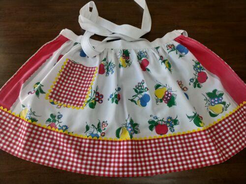 "HALF APRON w/POCKET made w/VTG ""Fruits"" print Tablecloth w/Gingham Trims PREOWN"