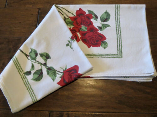 Vintage 1950s California Print Cotton Tablecloth RED ROSES