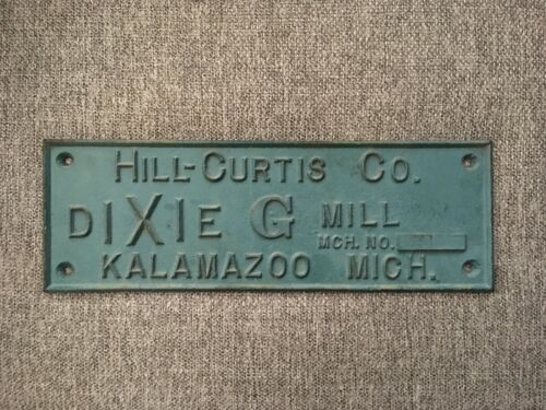 "Original Antique/Vintage Cast Iron Plaque/Sign for The Dixie ""G"" Saw Mill"