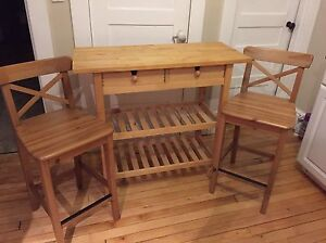 Kitchen cart with bar stools