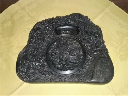 Large Antique / Vintage Chinese Ink Stone with Nine Dragons!