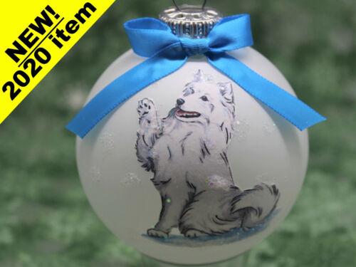 D109 Hand-made Christmas Ornament dog - Samoyed - happy waving samie