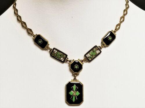 Vintage 1930s Czech Neiger Jet Black Glass Enamel Panel Brass Pendant Necklace