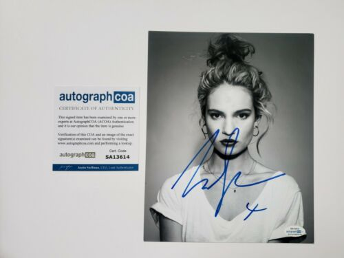 Lily James Sexy Autographed Signed 8x10 Photo ACOA