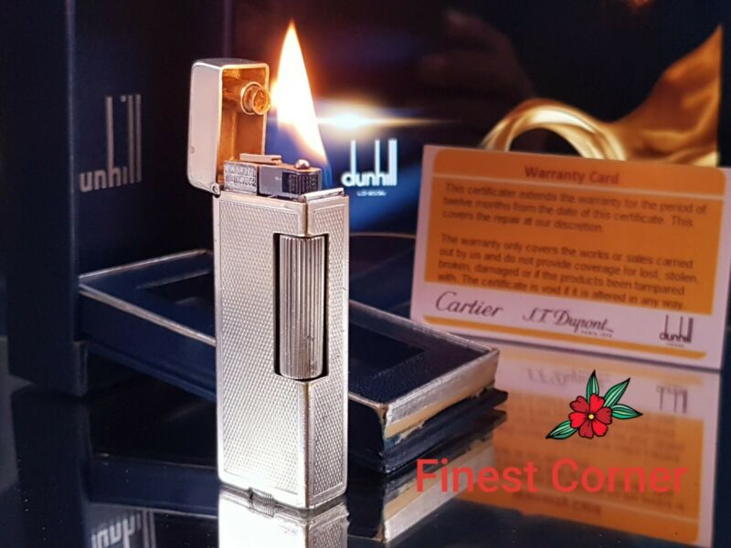 Dunhill Petrol Lighter Silver Rollalite Functional Serviced Warranty Box VGC S99