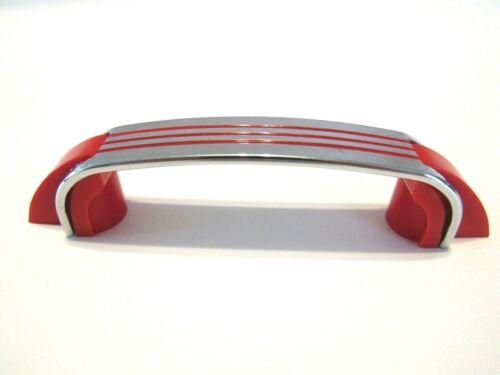 Vtg Chrome Drawer Cupboard Pulls RED Lines Plastic Trim Hoosier Cabinet Handles