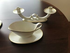 Germany porcelain candlesticks and gravy bowl