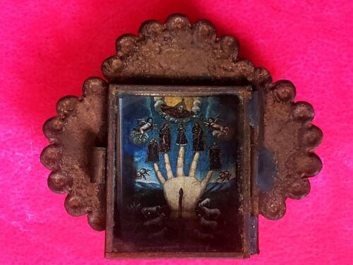 Rustic Nicho Mano poderosa folk art nicho shrine retablo mexican box hand sacred