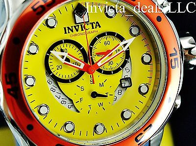 Invicta 19648 Pro Diver Swiss Chrono Watch (Yellow Dial, Blue Strap)