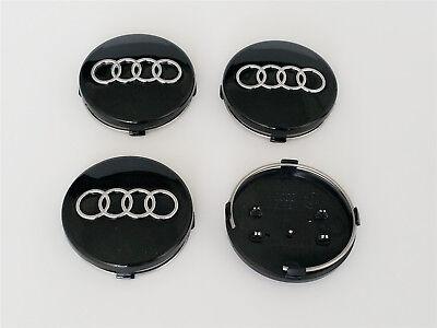 Audi Alloy Wheel Centre Caps x4 60mm Black 4B0601170 A 1 2 3 4 5 6 7 8 Q RS TT