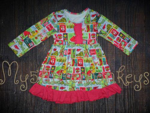 NEW Boutique Dr Seuss Grinch Girls Long Sleeve Ruffle Dress Christmas