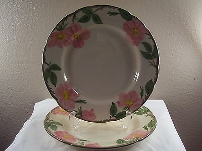 "FRANCISCAN Made In USA DESERT ROSE Hand Decorated DINNER 10 1/2"" PLATES Set Of 2"