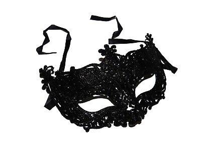 x12 BLACK GLITTER MASQUERADE MASKS BULK WHOLESALE PARTY HEN VENETIAN MASK - Venetian Masks Wholesale