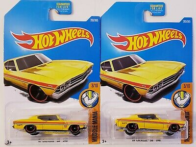2016 Hot Wheels yellow '69 Chevelle SS 396 Muscle Mania #3/10 Lot of 2