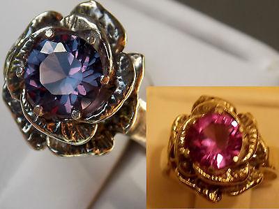 purple raspberry alexandrite flower antique 925 sterling silver ring size 6