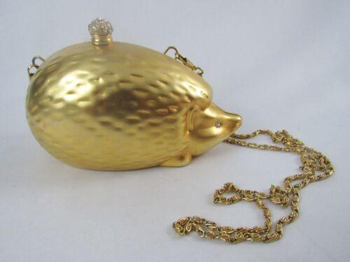 Vintage Gold Tone Metal Rhinestone Figural Hedgehog Shoulder Clutch Purse - WOW!