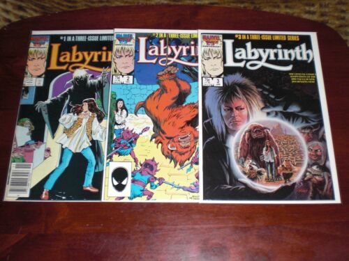 LABYRINTH  DAVID BOWIE  NO.1, NO.2  & NO.3  VF/NM  1986  * SHARP *   MARVEL