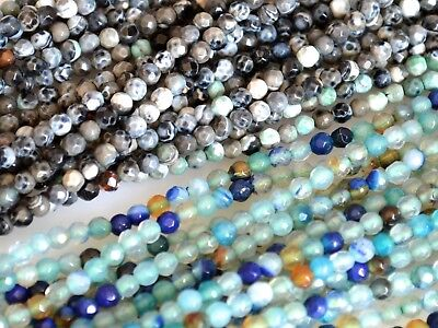 (3mm Faceted Round Agate Semi Precious Stone Beads Black & Blue Green Color #2117)