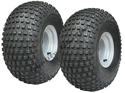 2 - 22 x 11 - 8  knobby tyres on ball bearing rims - ATV trailer - quad wheels