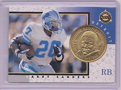 Detroit Lions Coin Card - 1997 PINNACLE MINT BARRY SANDERS BRASS COIN & CARD #8 ~ DETROIT LIONS GREAT ~QTY