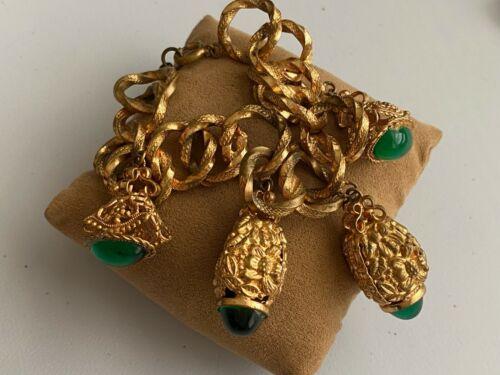 Vintage Emerald Green Cabochon Chunky Rustic Gold Tone Charm Bracelet