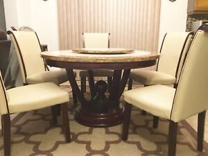 Marble Round Dining / Breakfast Table Set with Lazy Susan
