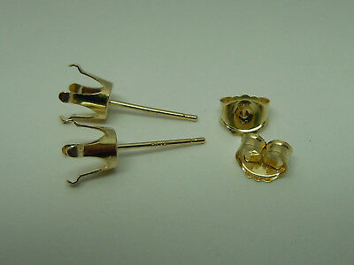 SOLID 14kt gold 6mm ROUND earring mounts settings snap tite set in 14k for -