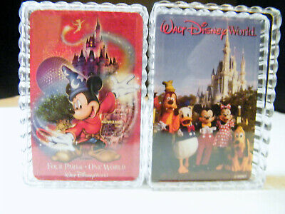 DISNEY PLAYING CARDS 2 DECKS IN CLEAR PLASTIC CASES -OPEN BUT UNUSED