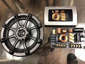 One Kicker speaker with two Alpine crossovers