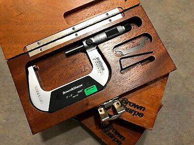 Used Brown Sharpe 2-3 Machinist Tools Micrometer 599-3-32 Original Wood Box