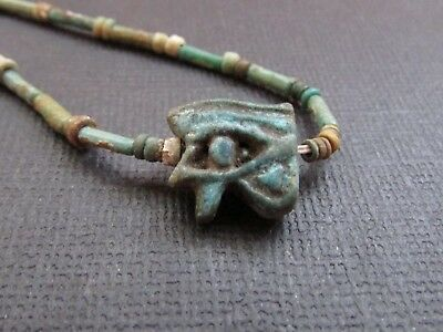 NILE  Ancient Egyptian Eye of Horus Amulet Mummyi Bead Necklace ca 600 BC