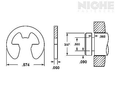 E-Clip External Retaining Ring Clip 3/4 SS PV (15 Pieces)