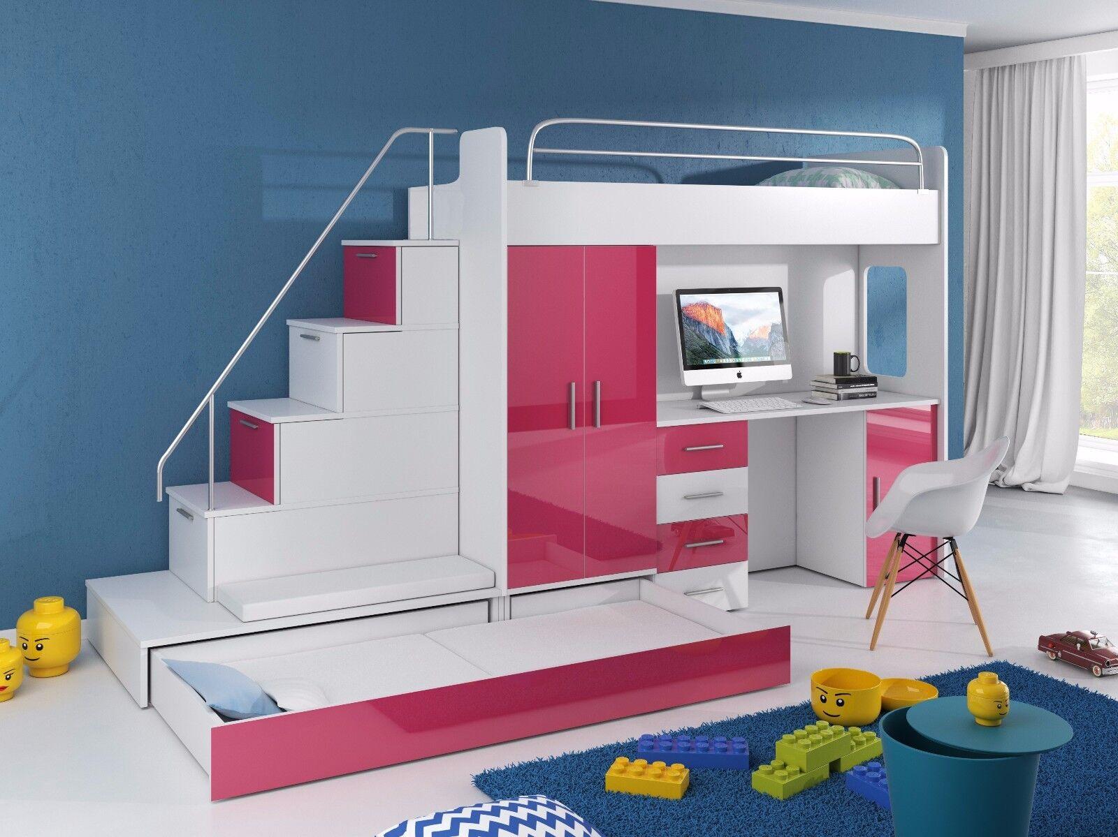 Schwebetürenschrank grau schwarz  Hochbett TOMI mit Treppe, Schreibtisch, Schrank und Gästebett in ...