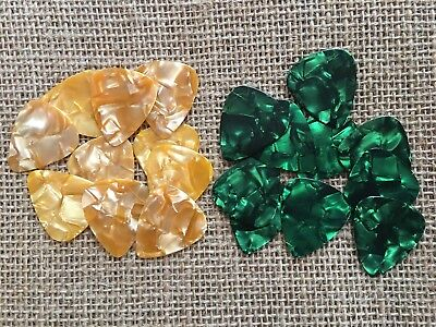 20 PERSONALIZED Guitar Picks GREEN & GOLD Pearl YOUR NAME ON PICKS!! Med.