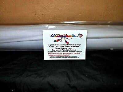 Glossy White Inkjet Printable Vinyl Roll 42in X 100ft