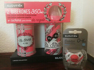 SUAVINEX PACK BIBERONES Y CHUPETE BABY BOTTLES AND PACIFIER RETRO STYLE LOT....