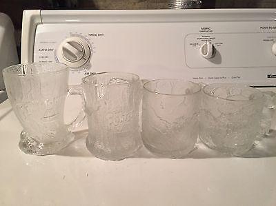 4 Glass Flinstones Mugs 1993 Made In France