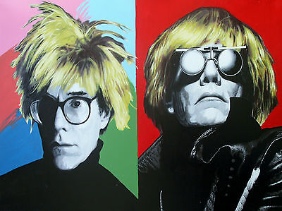 Steve Kaufman SAK - Double Andy Warhol - Original Artist-Embellished Screenprint