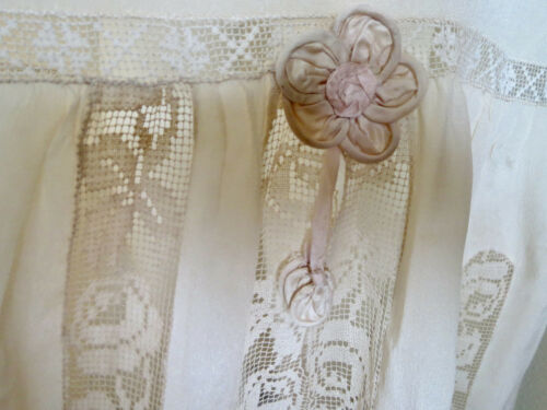 Antique Victorian Skirt Pure Silk Ribbon Flowers