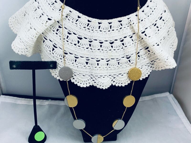 VTG. BRUSHED GOLD & SILVER TONE BOLO CHAIN LINK WAFERS NECKLACE