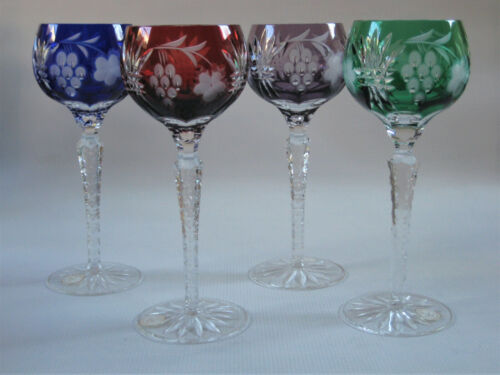 """SET of FOUR - AJKA - Cased Cut to Clear Crystal Wine Hock Glasses - 8.25"""" T."""