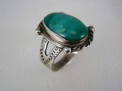 OLD Fred Harvey era NAVAJO STERLING SILVER & TURQUOISE RING w/ SNAKES sz 7