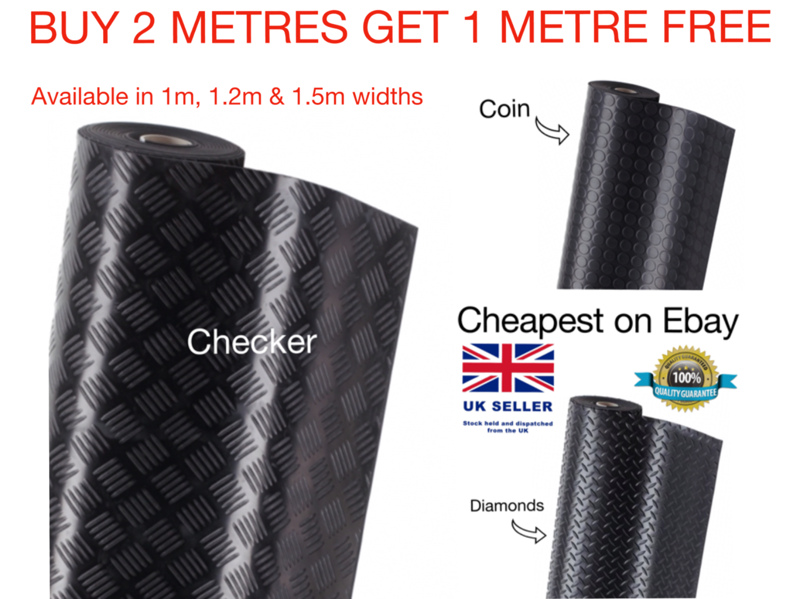 Car Parts - 3mm Rubber Matting Flooring Heavy Duty Floor Garage Van kennel 1m 1.2m & 1.5m